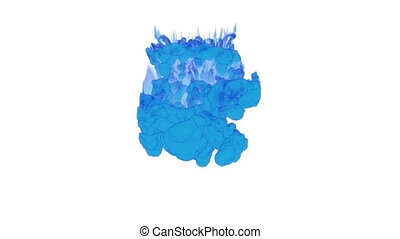 computer graphics like blue ink spreading in the water on a white background. 3d render. voxel graphics. computer simulation 5