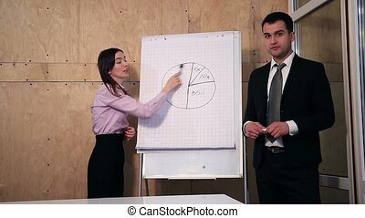 Businesspeople answer question during presentation