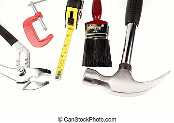 Work tools on white background