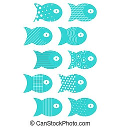 Fish set of elements for fabric textile design, pillows, wallpapers,cloth,bags,scrapbook paper.