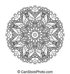 Mandala. Ethnic decorative round element. Hand drawn lacy...