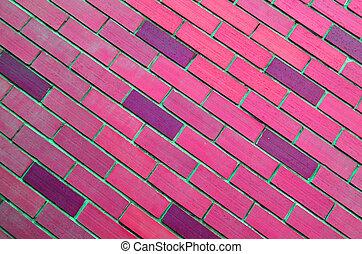 rosa, pared, oblicuo, ladrillo