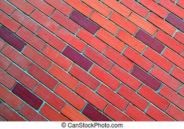pared, oblicuo, ladrillo, rojo