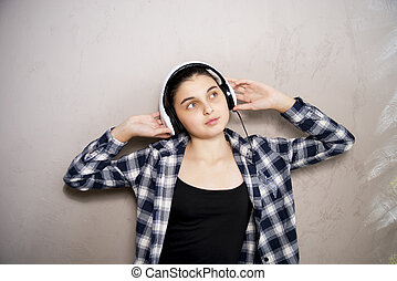 teen girl in headset