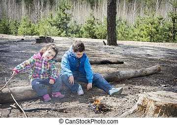 In summer, the forest brother and sister sitting on a log...