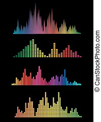 Colour music digital soundwaves isolated on black...