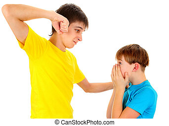 Teenager threaten a Kid Isolated on the White Background