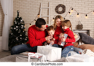 family home on Christmas - a happy family home on Christmas...
