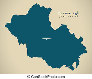 Modern Map - Fermanagh UK Northern Ireland illustration