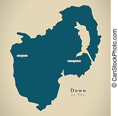 Modern Map - Down UK Northern Ireland illustration