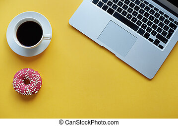Break time with coffee and donut