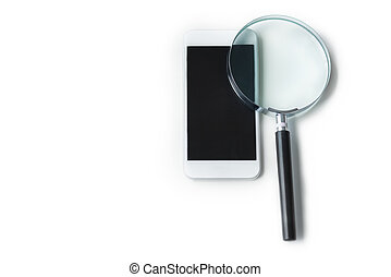 Two objects which are magnifying glass plus smartphone