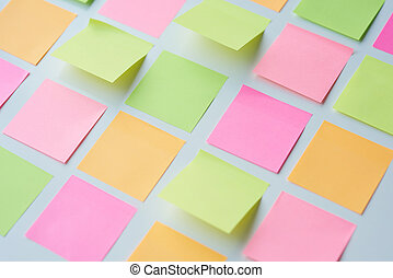 Empty sticky notes put on the table