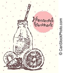 Drawn homemade lemonade vector illustration sketch - Hand...