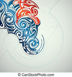 Ornamental swirls abstraction - Artistic concept with double...