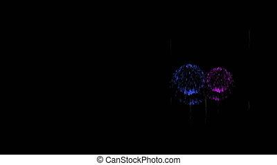 3D Render 4K. Computer Graphic. Multiple Fireworks. Sharp...