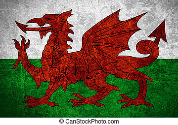 flag of Wales or Welsh banner on scratched vintage texture