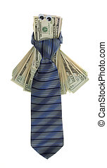 Twenty Dollar Bills with Google Eyes Tied up with a Neck tie...