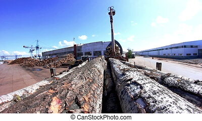 POV Truck heavy loaded with tree trunks - pont of view...