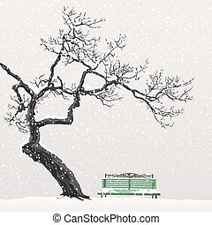 Lonely tree on a snow-covered bench - Lonely tree without...
