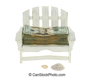 Big Stack of Twenty Dollar Bills in a Chair - Big Stack of...