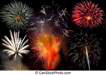 Bonfire night firework explosion - Firework display at St...