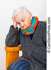 Depressed elderly woman - Picture of a depressed old lady...