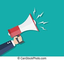 Cartoon human hand holding megaphone. social media marketing...