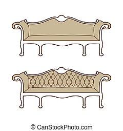 Retro, vintage furniture - Vector illustration of vintage...