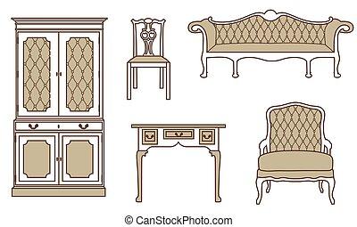 Retro, vintage furniture - Vector illustration set,...