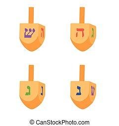 Hanukkah dreidel vector - Vector illustration set,...