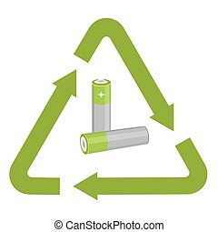 Battery with recycling symbol - Vector illustration used...