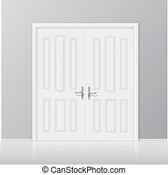 Vector white closed door with frame isolated on background...