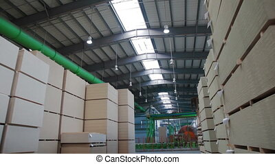 Industrial warehouse with chipboards - furniture production....