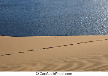 Footprints on the sand dunes on the background of blue lake....