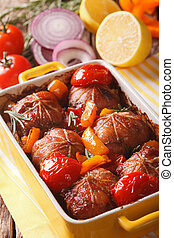 Tasty rabbit fillet baked with tomatoes, pepper and rosemary...