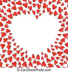 Heart Shape Frame Made From Red Hearts