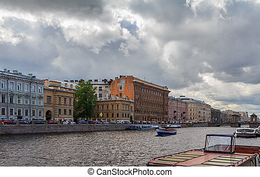 Fontanka River in St. Petersburg, cloudy summer day