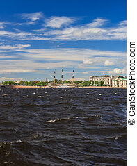 Frigate on the river Neva in St. Petersburg