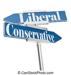 Change directions with conservative and liberal signs, 3D...