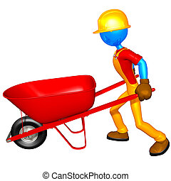 Construction Worker & Wheelbarrow