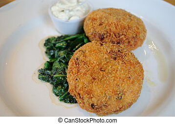Salmon Fish Cakes - Salmon fish cakes with spinach.