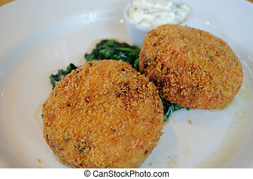 Salmon Fish Cakes - Salmon fish cakes with spinach