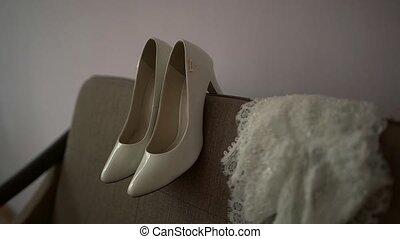 Bride accessories: lace blouse, garter, ballet flats,...