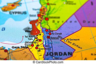 Tel Aviv Israel map - Tel Aviv in Israel pinned on colorful...