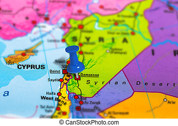 Damascus Syria map - Damascus in Syria pinned on colorful...