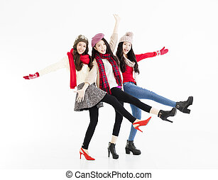 Young happy girls  having fun together