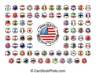 Made in foreign country, glossy icons on white - Set of...