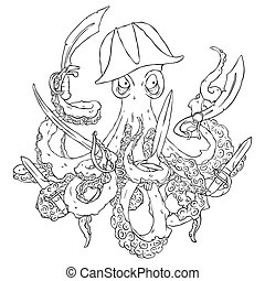 Angry pirate-octopus with arms. Sword, dagger, blade. Aggressive