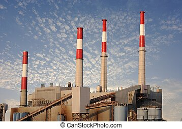 Electrical Plant - electrical plant smoke stacks